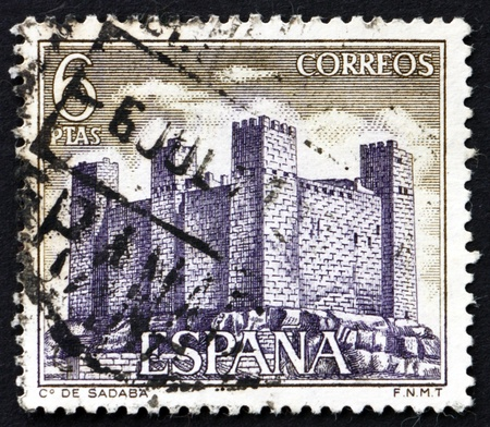 SPAIN - CIRCA 1970: a stamp printed in the Spain shows Sadaba Castle, Aragon, Middle Ages Castle, circa 1970 Stock Photo - 20510962