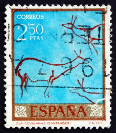 mesolithic: SPAIN - CIRCA 1967: a stamp printed in the Spain shows Deer, Cave Painting, the Castle Cave, Santander, circa 1967