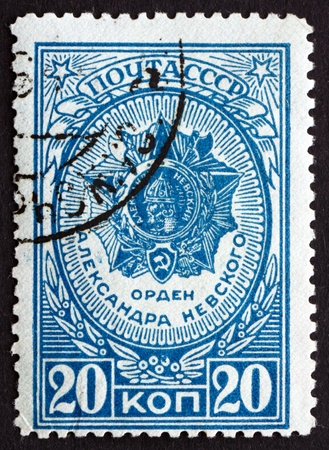 alexander nevsky: RUSSIA - CIRCA 1944: a stamp printed in the Russia shows Order of Prince Alexander Nevsky, circa 1944 Editorial