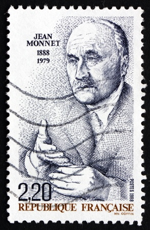 political economist: FRANCE - CIRCA 1988: a stamp printed in the France shows Jean Monnet, French Proponent of Unification of Europe, First Honorary Citizen of Europe, circa 1988