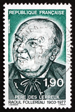 philanthropist: FRANCE - CIRCA 1987: a stamp printed in the France shows Raoul Follereau, Care for Lepers, Journalist, Poet and Philanthropist, circa 1987