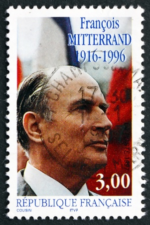 FRANCE - CIRCA 1997: a stamp printed in the France shows Francois Miterrand, 21st President of France,  circa 1997 Stock Photo - 20526869