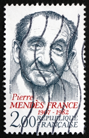 FRANCE - CIRCA 1983: a stamp printed in the France shows Pierre Mendes France, Prime Minister of France, circa 1983 Stock Photo - 20527800