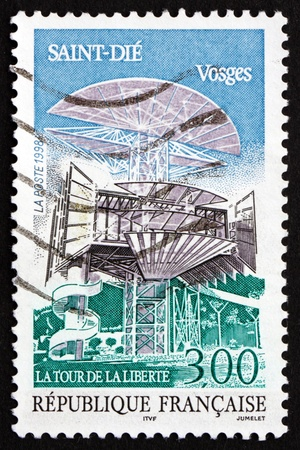FRANCE - CIRCA 1998: a stamp printed in the France shows Tower of Liberty, Saint-Die, Capital of Vosges Mountain Region, circa 1998 Stock Photo - 20527807