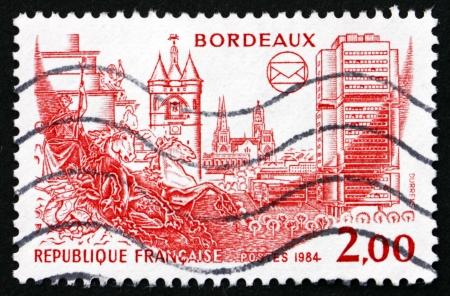 FRANCE - CIRCA 1984: a stamp printed in the France shows View of Bordeaux, French Philatelic Societies Congress, Bordeaux, circa 1984