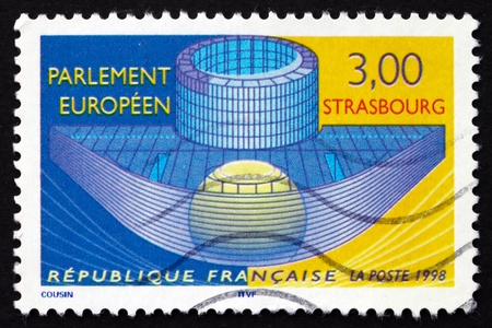 FRANCE - CIRCA 1998: a stamp printed in the France shows European Parliament, Strasbourg, circa 1998