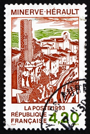 FRANCE - CIRCA 1993: a stamp printed in the France shows View of Village of Minerve, Commune in the Herault Department, circa 1993
