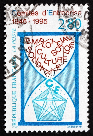 councils: FRANCE - CIRCA 1995: a stamp printed in the France shows Work Councils, 50th Anniversary, circa 1995