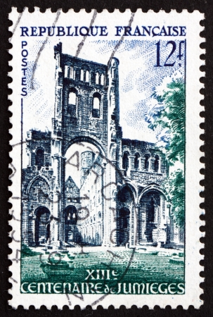 abbey ruins abbey: FRANCE - CIRCA 1954: a stamp printed in the France shows Abbey Ruins, Jumieges, Benedictine Monastery, Normandy, circa 1954