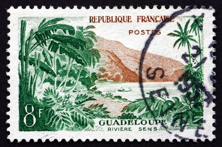 sens: FRANCE - CIRCA 1957: a stamp printed in the France shows View of Sens River, Guadeloupe, Island in the Lesser Antilles, circa 1957