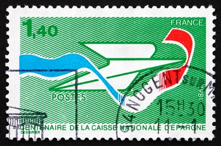 FRANCE - CIRCA 1981: a stamp printed in the France shows National Savings Bank, Centenary, circa 1981