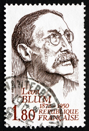 FRANCE - CIRCA 1982: a stamp printed in the France shows Leon Blum, Politician, Prime Minister of France, circa 1982 Stock Photo - 20658840