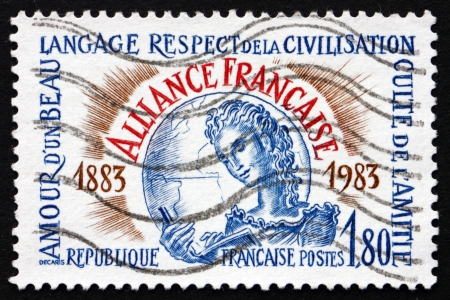 centenary: FRANCE - CIRCA 1983: a stamp printed in the France shows Alliance Francaise Centenary, French Alliance, International Organisation, circa 1983