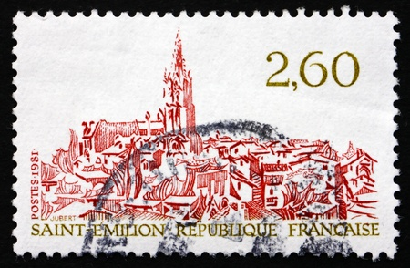 gironde department: FRANCE - CIRCA 1981: a stamp printed in the France shows View of Saint-Emilion, Commune in the Gironde Department in Aquitane, circa 1981