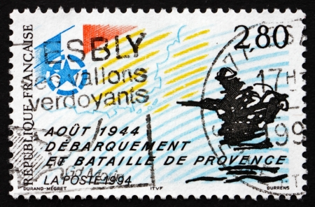 allied: FRANCE - CIRCA 1994: a stamp printed in the France shows Allied Landings in Provence, 50th Anniversary, circa 1994
