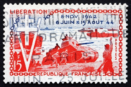 allied: FRANCE - CIRCA 1954: a stamp printed in the France shows Allied Landings, 10th Anniversary of the Liberation, circa 1954
