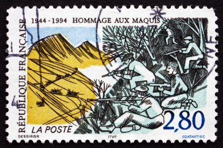 guerilla warfare: FRANCE - CIRCA 1994: a stamp printed in the France shows Resistance of the Maquis, 50th Anniversary, circa 1994 Editorial