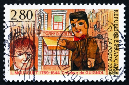 laurent: FRANCE - CIRCA 1994: a stamp printed in the France shows Laurent Mourguet, Creator of Puppet, Guignol, circa 1994 Editorial