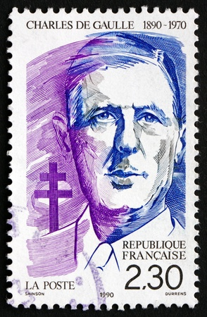 gaulle: FRANCE - CIRCA 1990: a stamp printed in the France shows Charles de Gaulle, French General and Statesman, President of the French Republic, circa 1990 Editorial