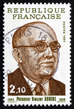 FRANCE - CIRCA 1984: a stamp printed in the France shows Vincent Auriol, the First President of the Fourth Republic from 1947 to 1954, circa 1984 Stock Photo - 20804696