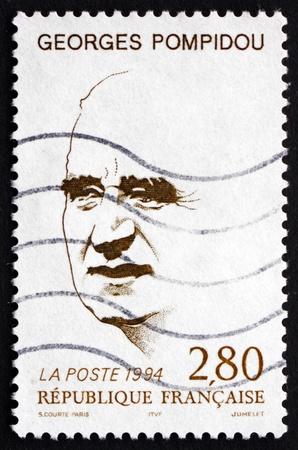 georges: FRANCE - CIRCA 1994: a stamp printed in the France shows Georges Pompidou, French President, circa 1994