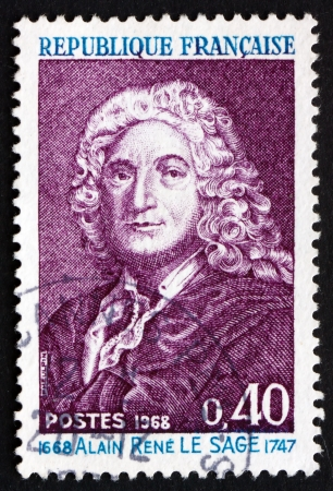 novelist: FRANCE - CIRCA 1968: a stamp printed in the France shows Alain Rene LeSage, Novelist and Playwright, circa 1968