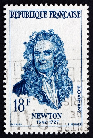 isaac newton: FRANCE - CIRCA 1957: a stamp printed in the France shows Sir Isaac Newton, English Physicist and Mathematician, circa 1957