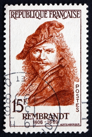 rembrandt: FRANCE - CIRCA 1957: a stamp printed in the France shows Rembrandt Harmenszoon van Rijn, Dutch Painter and Etcher, Portrait, circa 1957