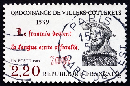 ordinance: FRANCE - CIRCA 1989: a stamp printed in the France shows The Ordinance of Villers-Cotterets, Reform Legislation, 450th Anniversary, circa 1989
