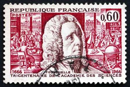FRANCE - CIRCA 1966: a stamp printed in the France shows Bernard Le Bovier de Fontenelle and 1666 Meeting Room, 300th Anniversary od Academy of Sciences, circa 1966