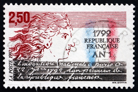 FRANCE - CIRCA 1992: a stamp printed in the France shows First French Republic, Bicentenary, circa 1992