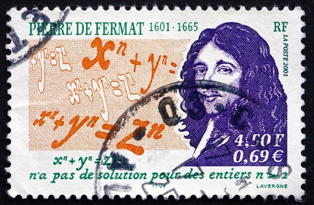 theorem: FRANCE - CIRCA 2001: a stamp printed in the France shows Pierre de Fermat, Mathematician, Lawyer, Fermat's Last Theorem, circa 2001