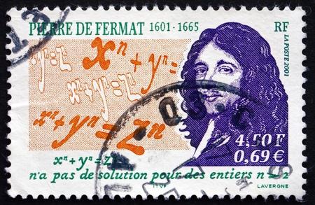 teorema: FRANCIA - CIRCA 2001: un sello impreso en la Francia muestra Pierre de Fermat, matem�tico, Abogado, Fermats �ltimo teorema, alrededor del a�o 2001 Editorial