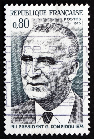 FRANCE - CIRCA 1975: a stamp printed in the France shows Georges Pompidou, President of France, 1969-74, circa 1975 Stock Photo - 20877997