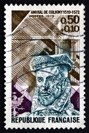 gaspard: FRANCE - CIRCA 1973: a stamp printed in the France shows Gaspard de Coligny, Admiral and Huguenot Leader in the French Wars of Religion, circa 1973 Editorial