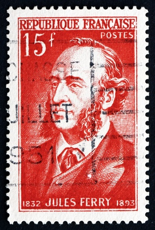 FRANCE - CIRCA 1951: a stamp printed in the France shows Jules Ferry, French Statesman and Republican, circa 1951 Stock Photo - 20938734