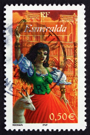 hugo: FRANCE - CIRCA 2003: a stamp printed in the France shows Esmeralda, from Notre Dame de Paris, by Victir Hugo, Character from Literature, circa 2003