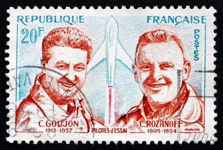 constantin: FRANCE - CIRCA 1959: a stamp printed in the France shows Charles Goujon and Col. Constantin Rozanoff, Test Pilots, circa 1959