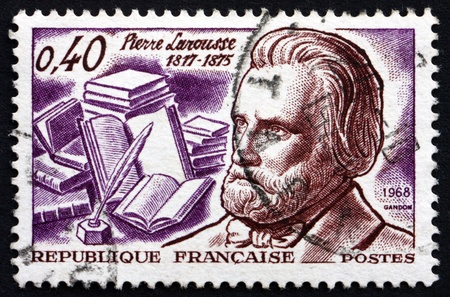 lexicographer: FRANCE - CIRCA 1968: a stamp printed in the France shows Pierre Larousse, Grammarian, Lexicographer and Encyclopedist, circa 1968 Editorial