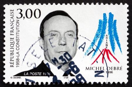 FRANCE - CIRCA 1998: a stamp printed in the France shows Michel Debre, Politician, circa 1998 Stock Photo - 21119224