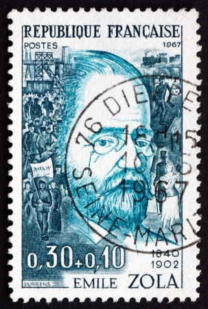 novelist: FRANCE - CIRCA 1967: a stamp printed in the France shows Emile Zola, Writer, Novelist, Playwright and Journalist, circa 1967 Editorial