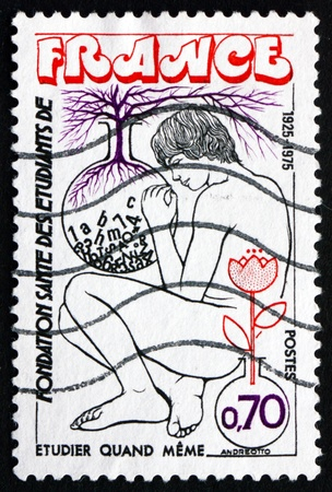 foundation problems: FRANCE - CIRCA 1975: a stamp printed in the France shows Youth and Flasks, Symbols of Study and Growth, Student Health Foundation, circa 1975 Editorial