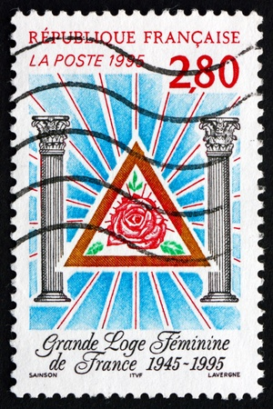 masonic: FRANCE - CIRCA 1995: a stamp printed in the France shows Womens Grand Masonic Lodge of France, 50th Anniversary, circa 1995