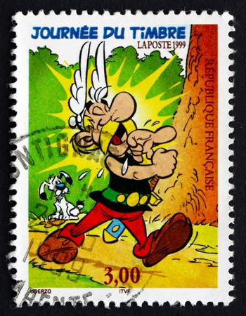 asterix: FRANCE - CIRCA 1988: a stamp printed in the France shows Asterix, Comic Character by Albert Uderzo and Rene Goscinny, circa 1988