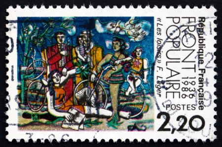 leger: FRANCE - CIRCA 1986: a stamp printed in the France shows Leisure, Painting by Fernand Leger, 50th Anniversary of 1936 Popular Front, circa 1986