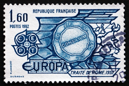 treaty: FRANCE - CIRCA 1982: a stamp printed in the France shows Treaty of Rome, 1957, 25th Anniversary, circa 1982