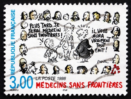 without people: FRANCE - CIRCA 1998: a stamp printed in the France shows Doctors Without Borders, circa 1998 Editorial