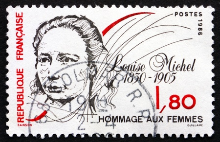 anarchist: FRANCE - CIRCA 1986: a stamp printed in the France shows Louise Michel, Anarchist, circa 1986 Editorial