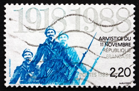 armistice: FRANCE - CIRCA 1988: a stamp printed in the France shows Armistice Ending World War I, 70th Anniversary, circa 1988 Editorial