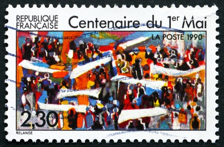 centenary: FRANCE - CIRCA 1990: a stamp printed in the France shows Labor Day, Centenary, circa 1990 Editorial